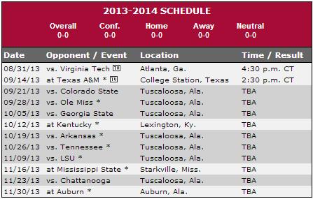 Bama schedule
