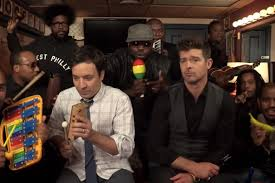 "Jimmy Fallon, Robin Thicke & The Roots Perform ""Blurred Lines"" Using Toy Instruments"